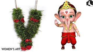 how to make arugampul garland for lord ganesha | arugampul malai for vinayaka chaturthi
