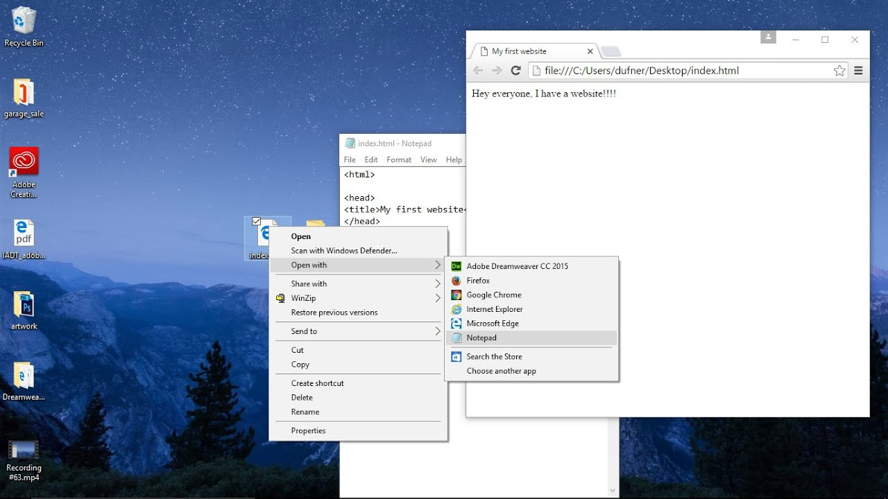 PC users: HTML editor Notepad, how to make and open html as code & website  in a browser