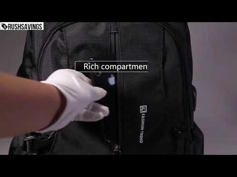 0262 New Waterproof Black Backpack with USB and Phone Ports