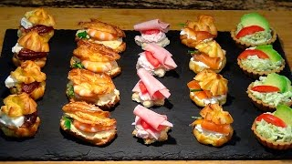 Receta Canapés o aperitivos variados con pasta choux - Recetas de cocina, paso a paso, tutorial