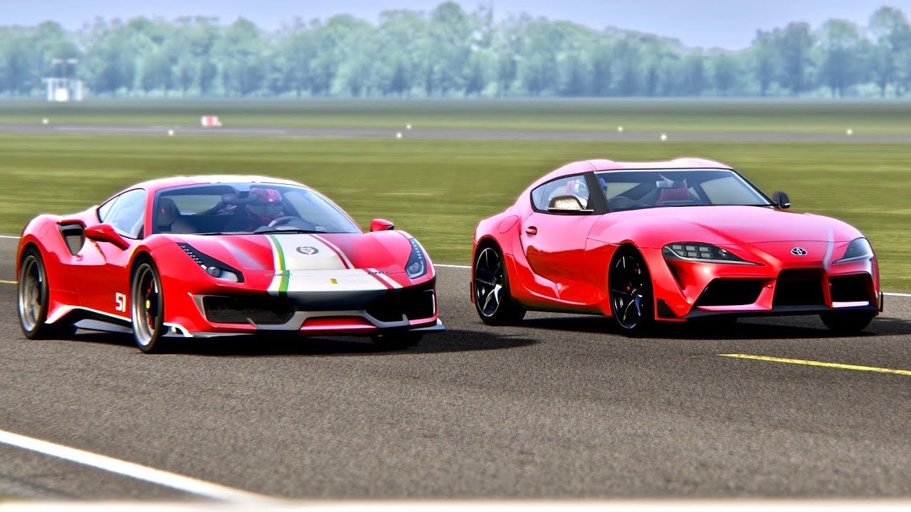 Ferrari 488 Pista Vs Toyota Supra Gr 2019 Top Gear Track Youtube