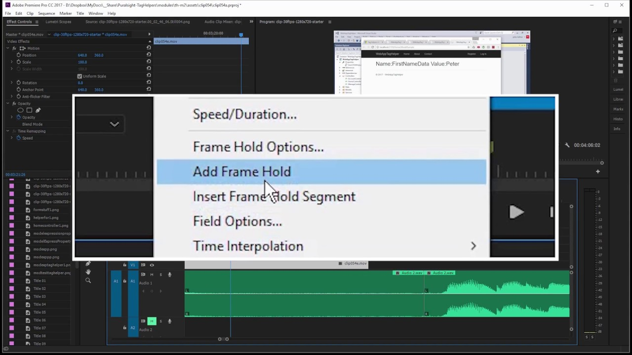 Learn How to Extend a Video Clip with Frame Hold in Adobe Premiere ...
