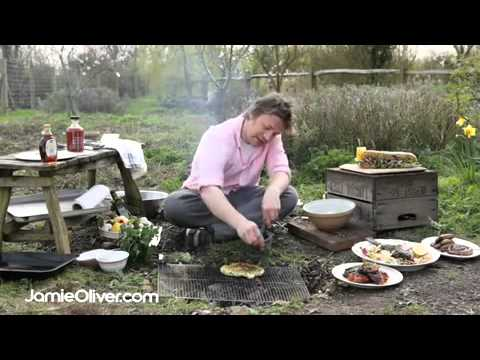 jamie oliver makes bbq flat bread with wild garlic dressing youtube. Black Bedroom Furniture Sets. Home Design Ideas