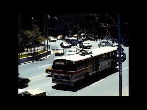 Toronto Trolleybus and Streetcar Action at Bay and Queen Streets in the Early `80/s