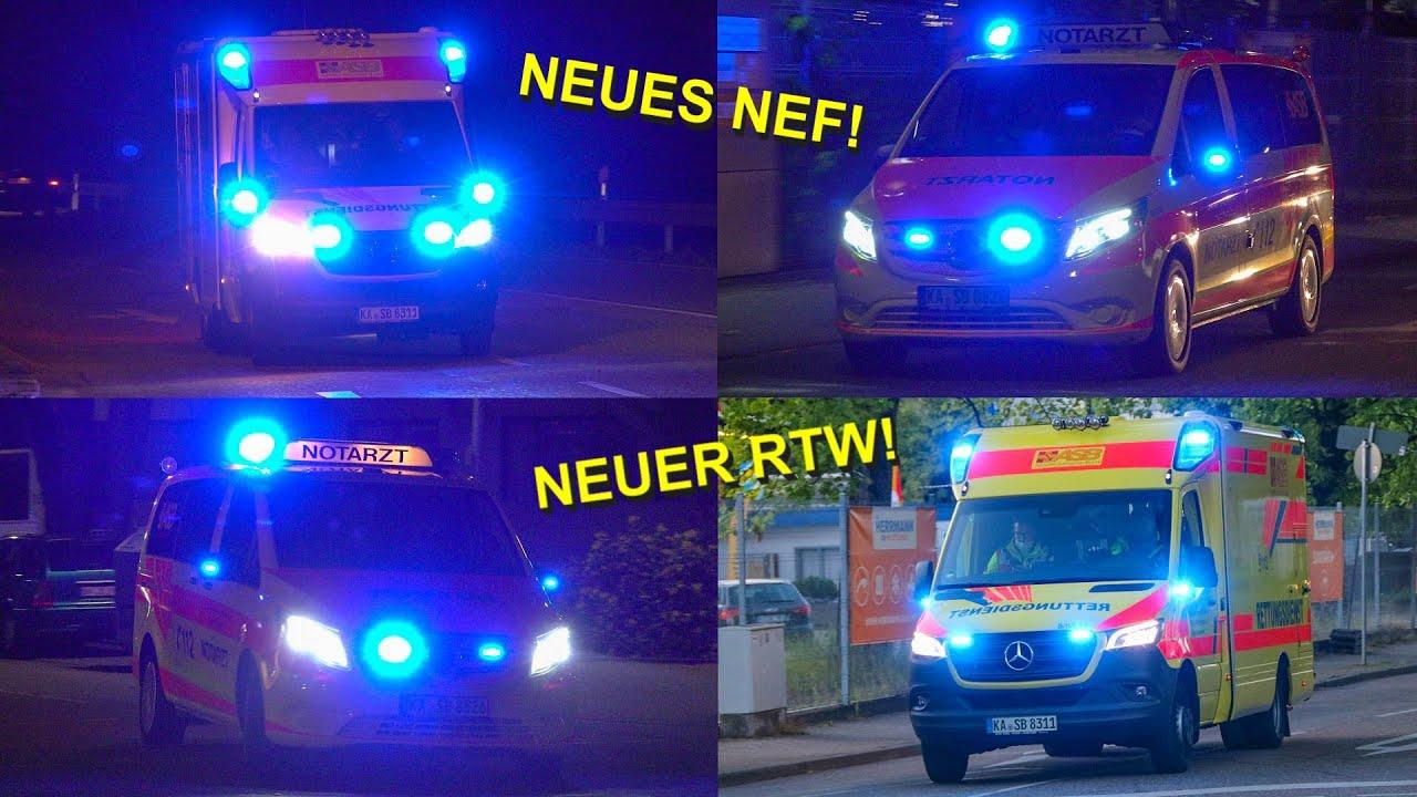 [Neues ASB-Duo mit viel Blaulicht] Neuer RTW & Neues NEF ASB Karlsruhe auf Einsatzfahrt in der Nacht