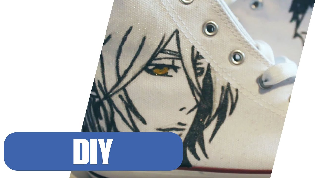 diy schuhe im anime style selber machen i upcycling youtube. Black Bedroom Furniture Sets. Home Design Ideas