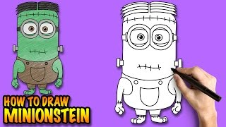 How to draw Minionstein - a Minion Frankenstein for Halloween - Easy step-by-step drawing tutorial