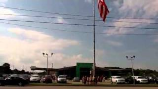 Boy Scouts Raising Giant Flag in Holland, Michigan