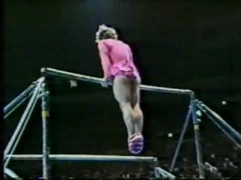 1981 Nadia Tour gymnastics Paul Hunt comedy uneven bars (skip to 3s)