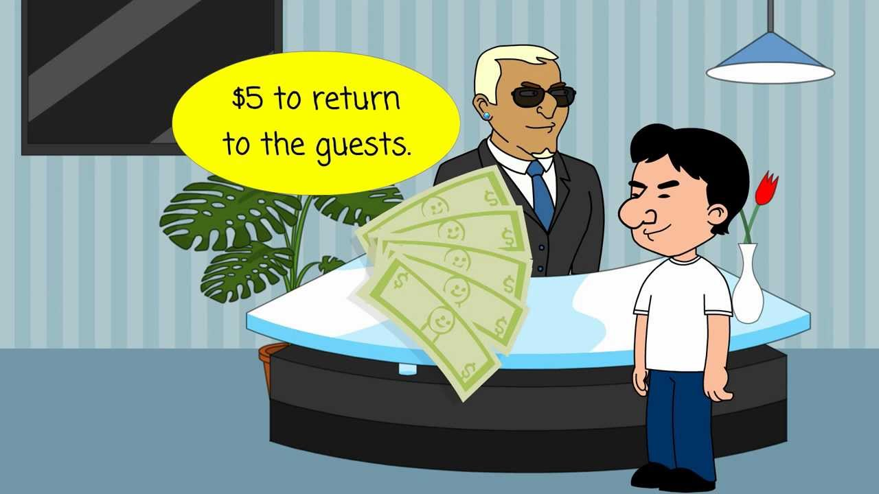 Three Guys Pay  For A Hotel Room