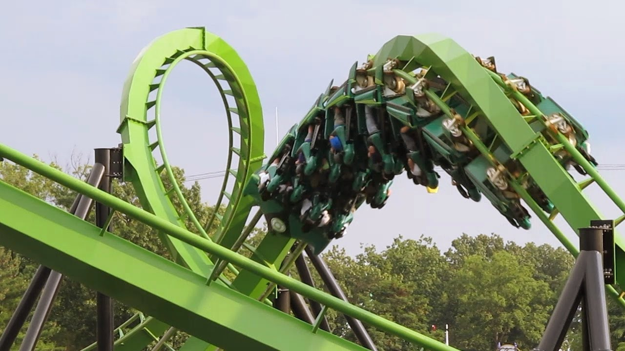 Green Lantern Roller Coaster off Ride Six Flags Great