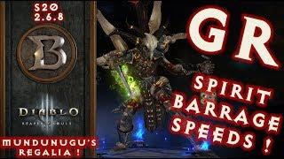 Spirit Barrage GR Speeds S20 2.6.8 Witch Doctor Build Mundunugu's Regalia Diablo 3