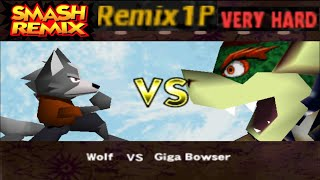 Smash Remix - Classic Mode Remix 1P Gameplay With Wolf (VERY HARD)