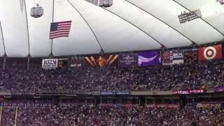Minnesota Vikings scoring fight song sung at Metro Dome game.  Skol Vikings, Let