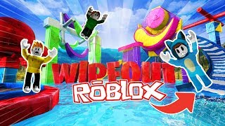 THE CAE LOSEE!! WATER CHALLENGE WIPEOUT ROBLOX 💙💚💛 DRINK MILO VITA AND ADRI 😍