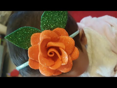 DIY Flower Handmade With Glitter Fomic Sheet Tutorial   DIY Rose Flower Craft Making (Very Easy)
