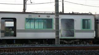 【東京メトロ03系 03-107F 先頭車を含む3両 陸送済】03-107F中間車は残り3両まで解体済。03-105F3両は留置のまま。解体中モハ03-601は何らかの養生