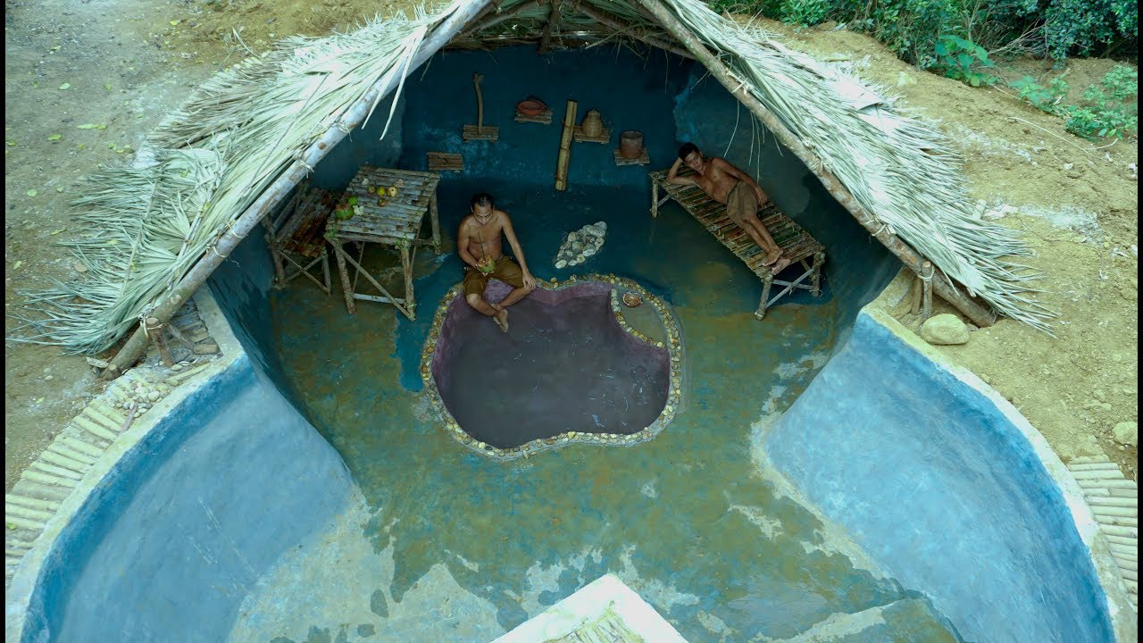 Build The Deepest Swimming Pool Underground In The Woods With Ancient Skills