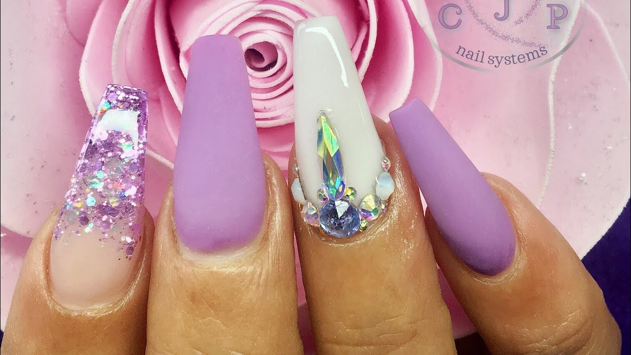 Acrylic Nails Matte Lilac Real Time Lication