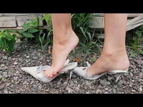 High heels slingbacks walking with a straps down, slingback high heels play, shoeplay (scenes 588)