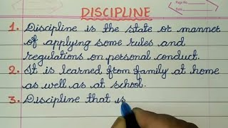 10 LINES ON DISCIPLINE IN CURSIVE HANDWRITING✍  @Sunflower