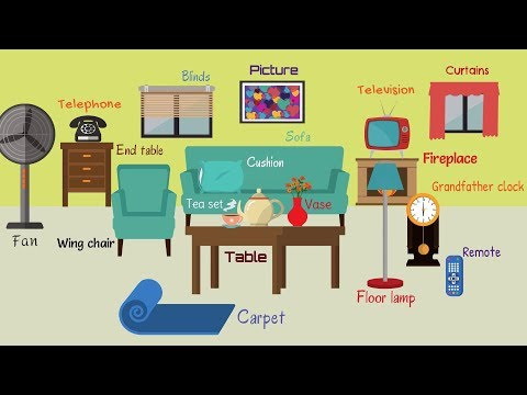 Kids Vocabulary - Names of Living Room Objects for Kids | In the Living Room Vocabulary