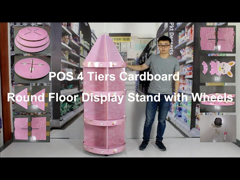 POS 4 Tiers Cardboard Round Floor Display Stand With Wheels