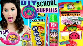 diy candy school supplies   push pop pen ring pop eraser hubba bubba tape skittles push pins