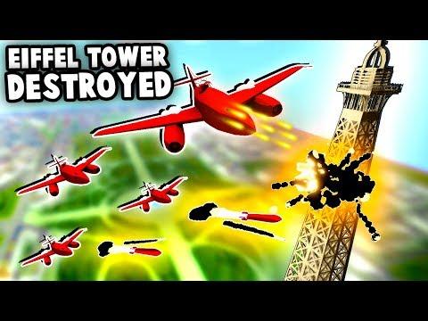 TOTAL Destruction   UFO Jets Destroy EIFFEL TOWER (Total Tank Simulator)