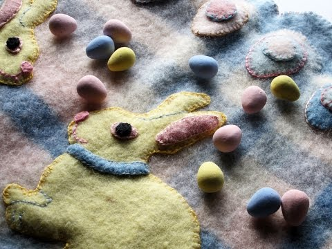 Easter Bunny Penny Rug from Recycled Felted Wool