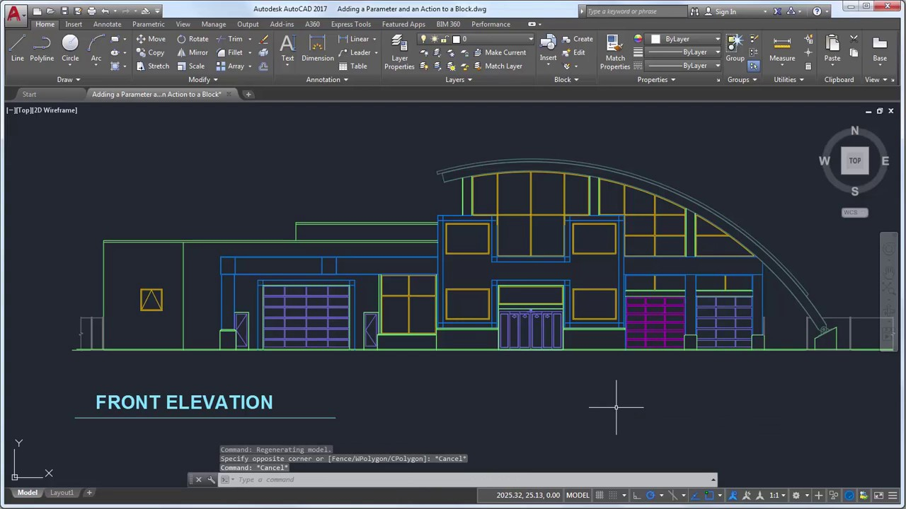 Front Elevation With Arch : How to create an array dynamic block in autocad