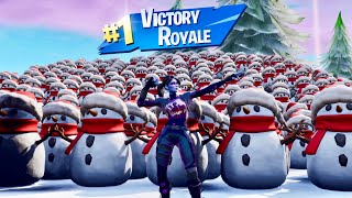 I created the biggest snowman army in Fortnite