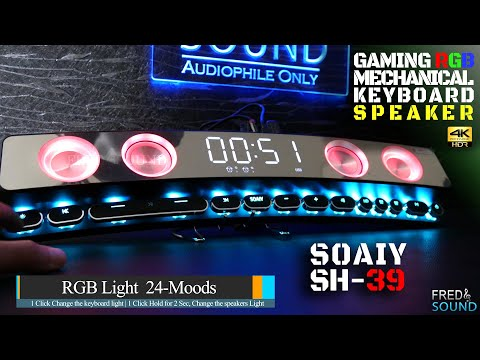 Gaming RGB Speaker Mechanical key SOAIY SH39 Wireless Bluetooth Sound Bar Curved Screen 4K (FNS)
