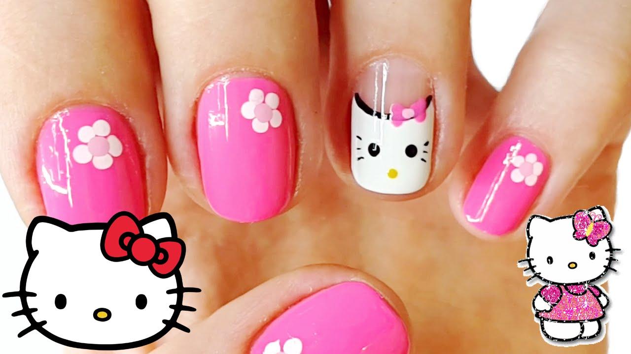 Hello Kitty Nail Art | Cute Hello Kitty Nails - YouTube