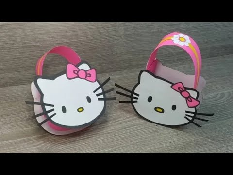 Hello Kitty Purse for kids making at home/ DIY paper bag gift for mother/ Mother's day special craft