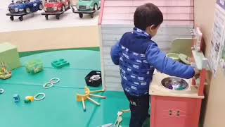 cutebabyanc Cute baby playing indoor kitchen ママゴト.