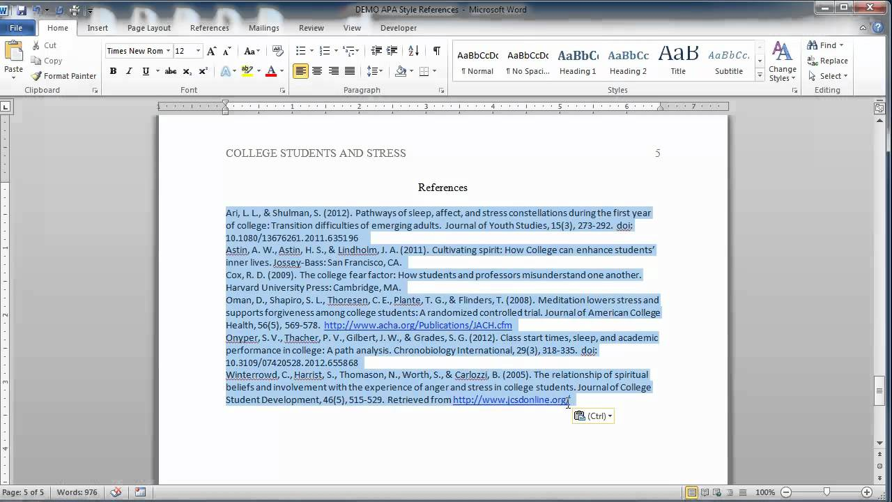 apa style reference page youtube