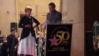 Hugh Laurie congratulates Emma Thompson on Walk of Fame star