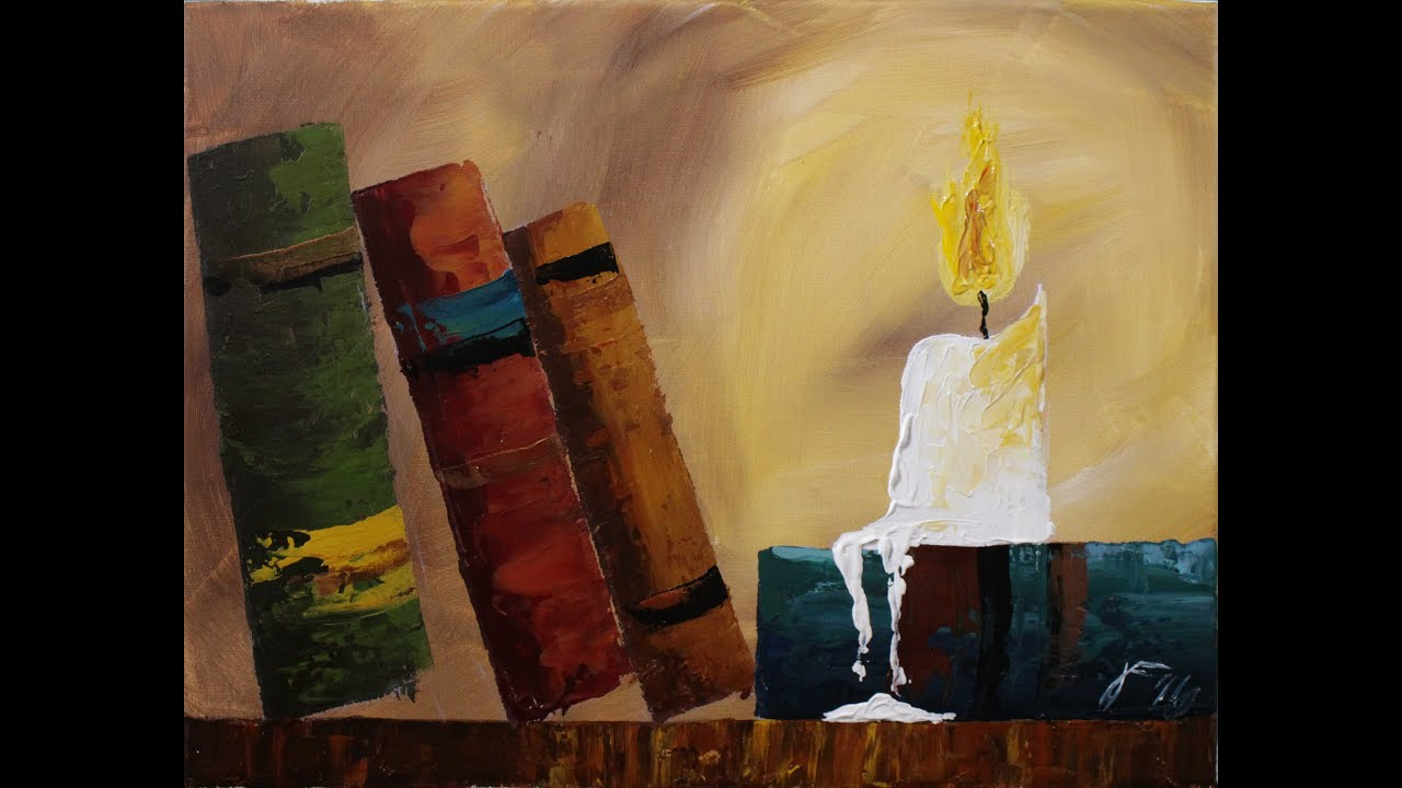 Candle Light Painting Old Books By Candlelight Step By Step Acrylic Painting On Canvas For Beginners