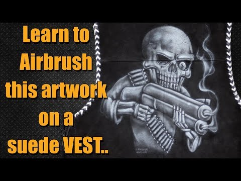 Airbrush Step by Step - Skeleton on a motorcycle vest
