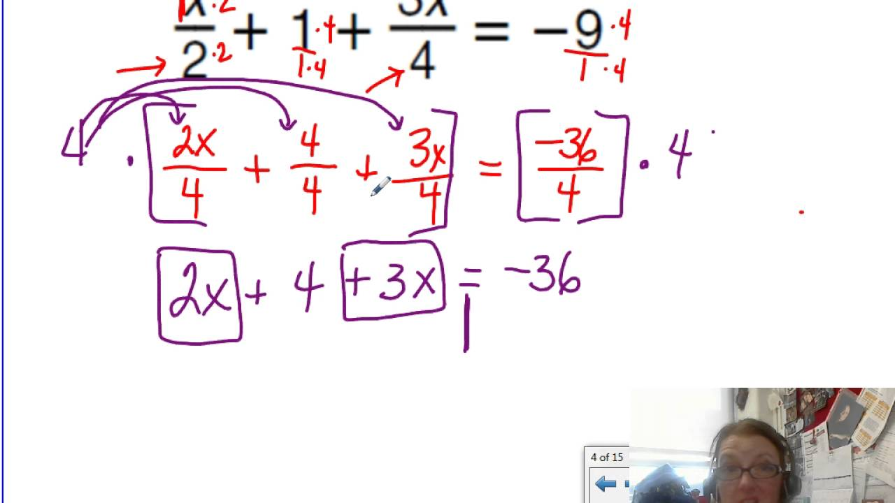worksheet Multi Step Equations With Fractions 11 02b solving multi step equations with fractions youtube fractions
