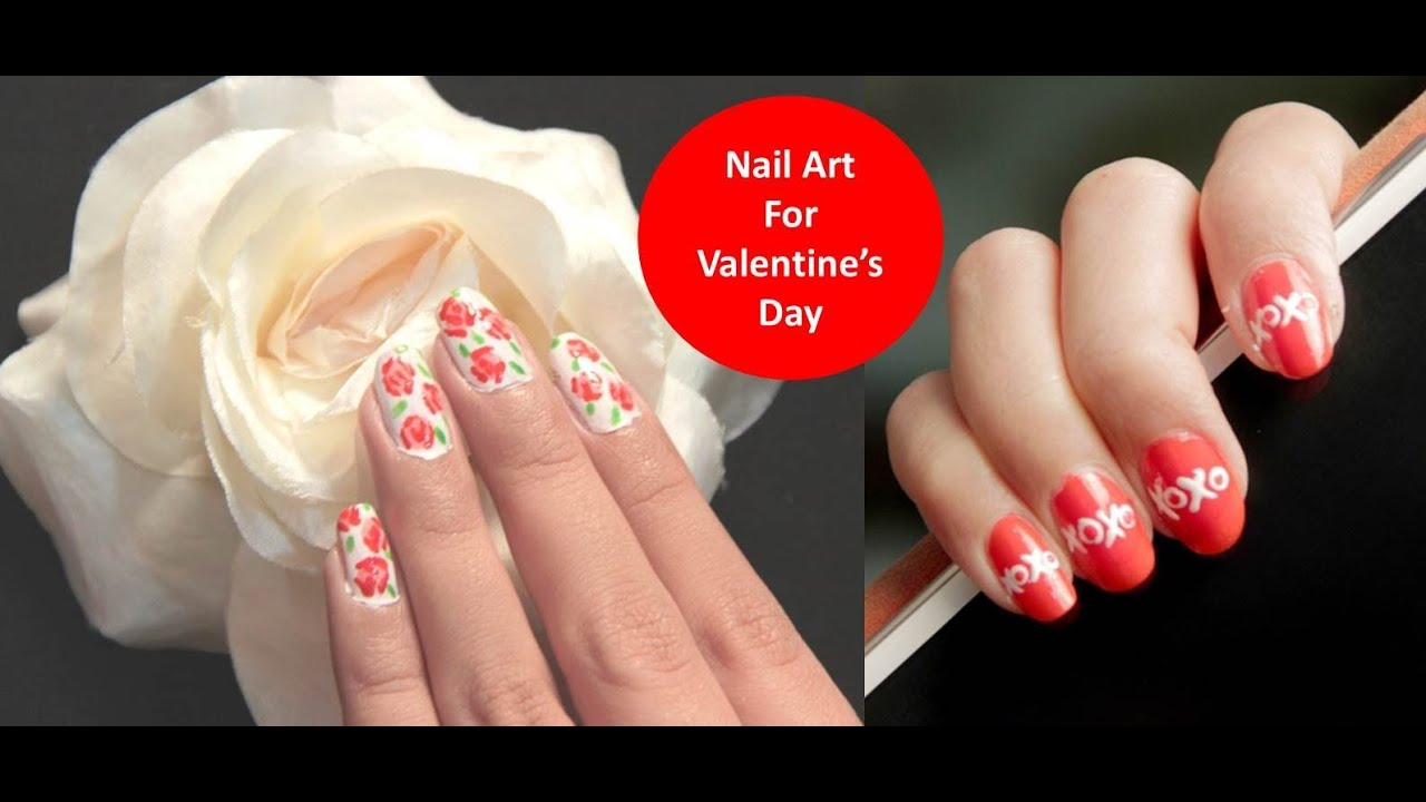 nail art for valentine s day hindi youtube