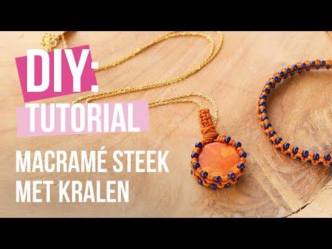 Sieraden maken: Macramé kralen steek voor armbanden én een bedel ♡ DIY