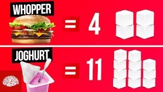 Lebensmittel in Zuckerwürfeln gemessen