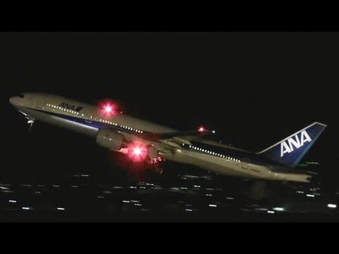 [B777 Into The Night Sky]  ANA Boeing 777-200 JA8969 TAKE-OFF  TOYAMA Airport 富山空港 2012.3.27