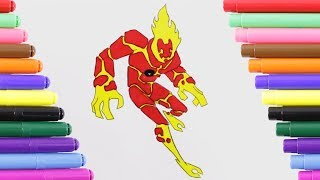 Ben 10 Heatblast Fly Coloring Page for Kids, Coloring Book