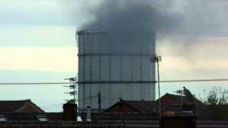 Jackson Street Gas Tower on Fire in St Helens, Merseyside.