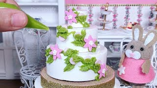 Miniature White Chocolate Spring Flower Cake - Mini Food - Miniature Cooking Cusina ASMR