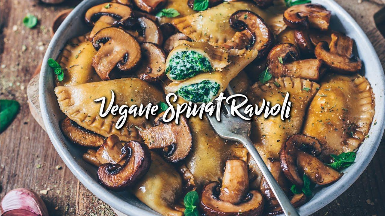 Spinat Ravioli mit Pilzen (vegan) * Rezept
