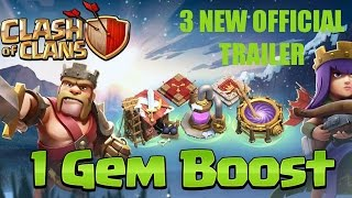 CLASH OF CLANS: 3 NEW Official Trailer, 1 Gem Boost ✭ Let's Play Clash of Clans [HD]